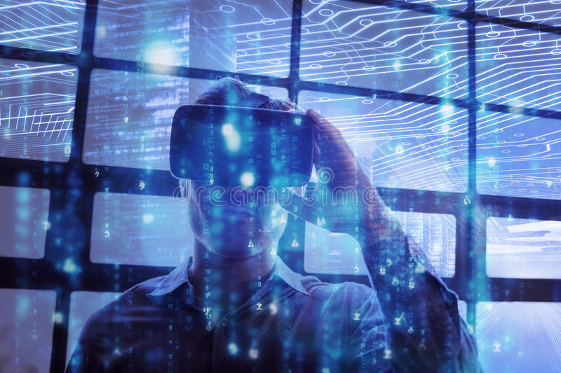 Composite image of blue and red technology interface. Blue and red technology interface against businessman using virtual reality device vector illustration