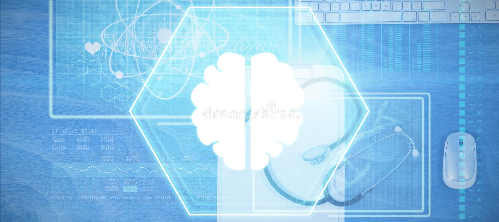 Composite image of brain. Brain against clipboard with keyboard and mouse on table stock illustration