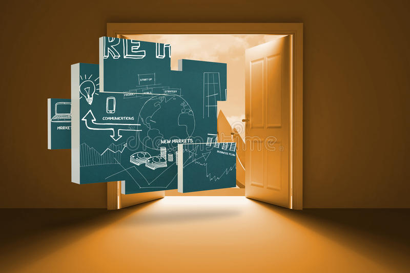 Composite image of brainstorm on abstract screen. Brainstorm on abstract screen against arrows in the sky in orange behind a door vector illustration