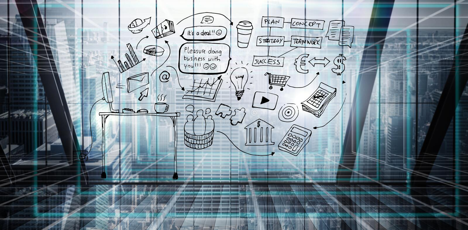 Composite image of brainstorm graphic. Brainstorm graphic against abstract technology background stock illustration