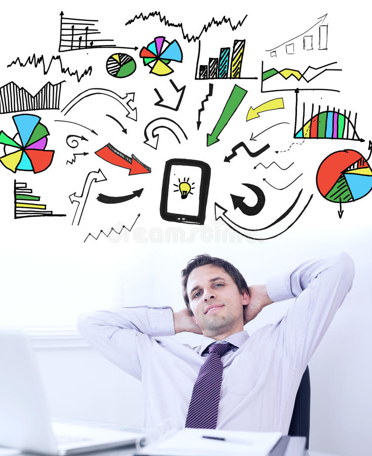 Composite image of brainstorm graphic. Brainstorm graphic against relaxed businessman with hands behind head in office stock photo