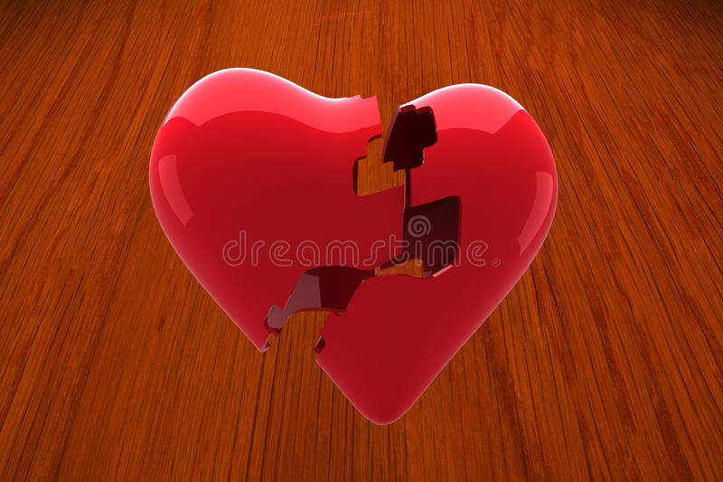 Composite image of broken heart. Broken heart against wooden oak table royalty free illustration