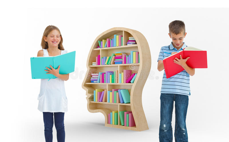 Composite image of brother and sister doing their homework together royalty free stock images