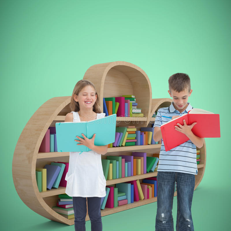 Composite image of brother and sister doing their homework together royalty free stock image