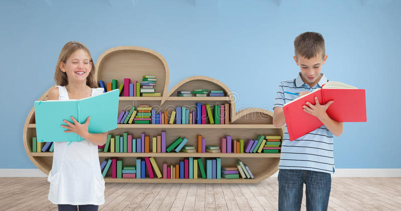 Composite image of brother and sister doing their homework together royalty free stock photo