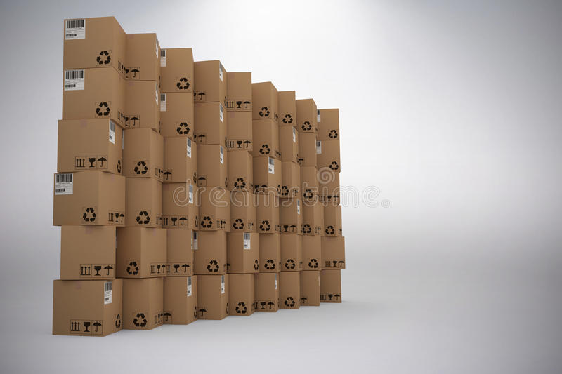 Composite image of brown packed cardboard boxes. Brown packed cardboard boxes against grey background vector illustration