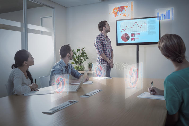 Composite image of business interface with graphs and data royalty free stock images