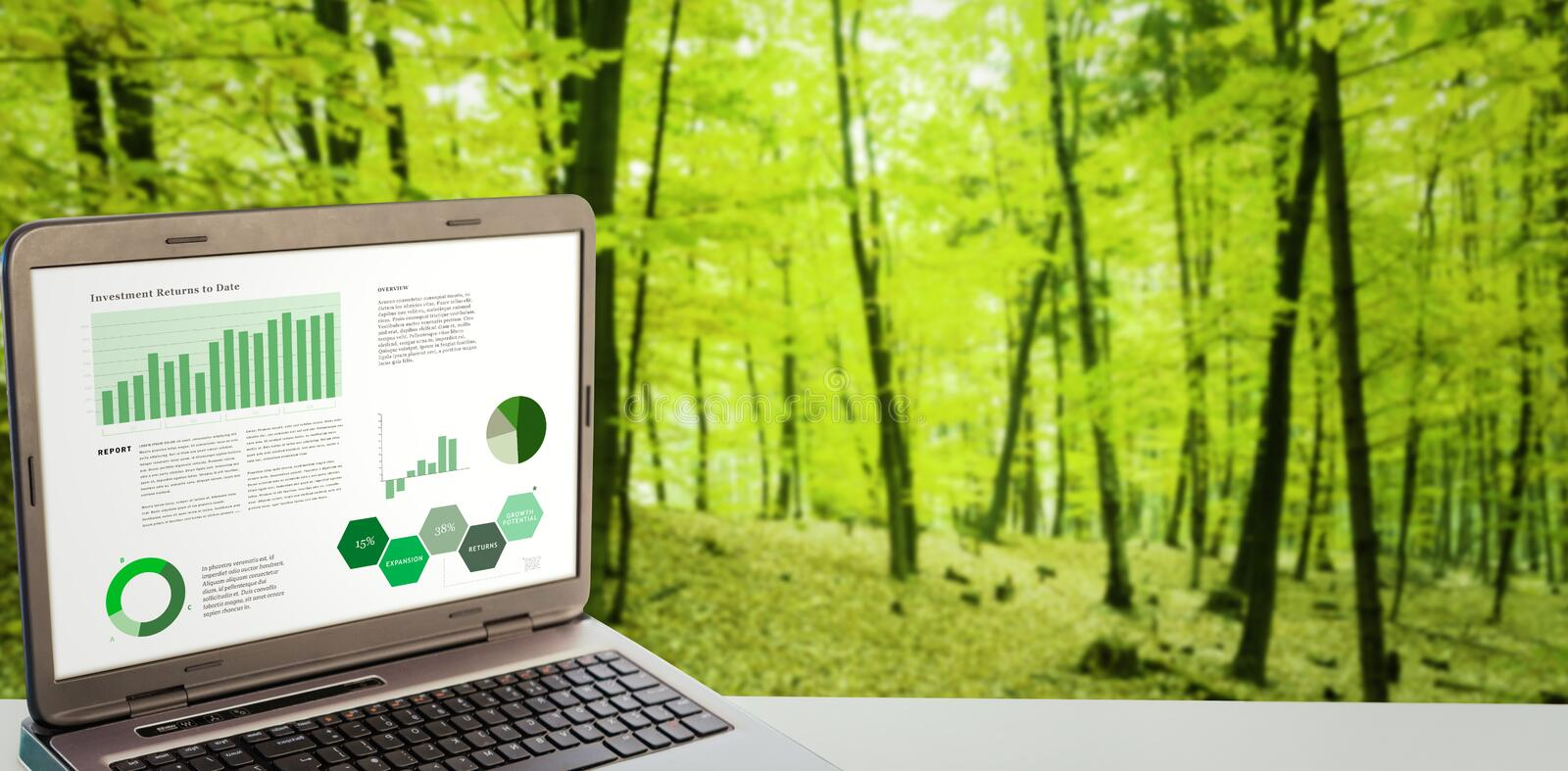 Composite image of business interface with graphs and data. Business interface with graphs and data against trees in the autumnal forest royalty free illustration