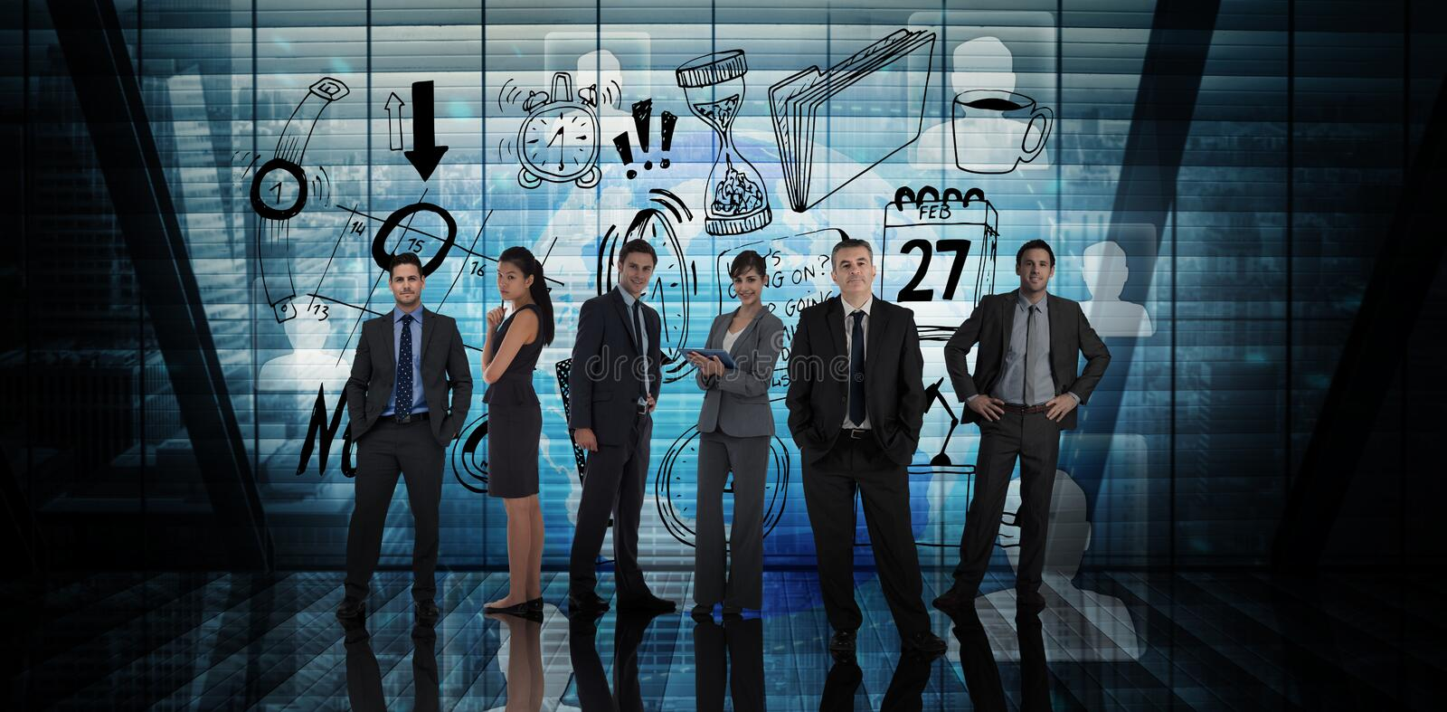 Composite image of business people. Business people against futuristic technology interface royalty free stock photo
