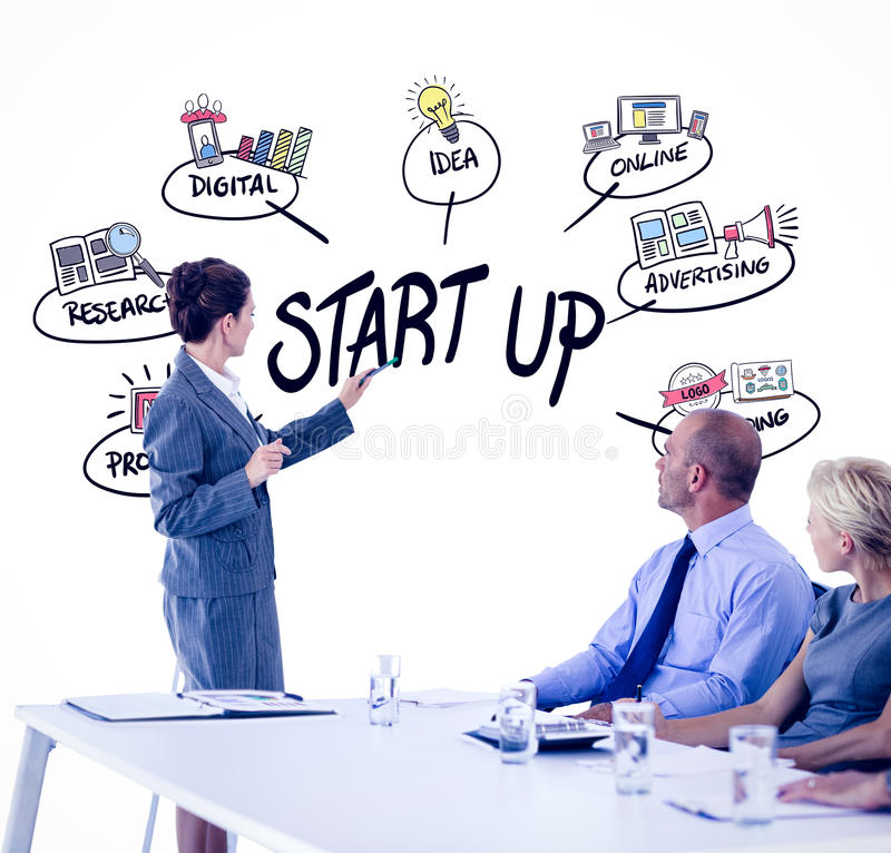 Composite image of business people looking at meeting board during conference. Business people looking at meeting board during conference against start up doodle stock photos
