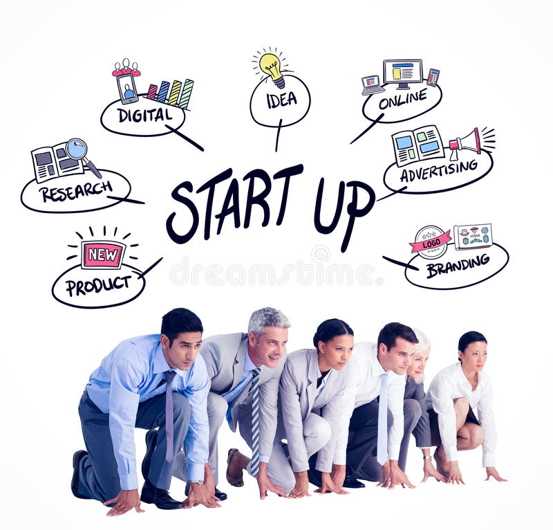 Composite image of business people preparing to run. Business people preparing to run against start up doodle stock photo