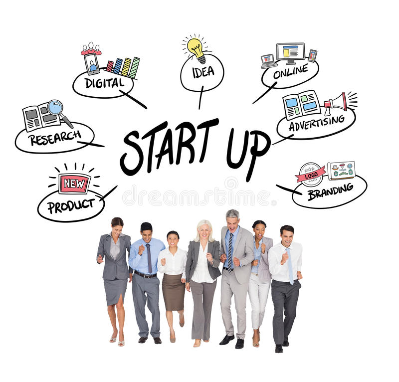 Composite image of business people running together. Business people running together against start up doodle stock image