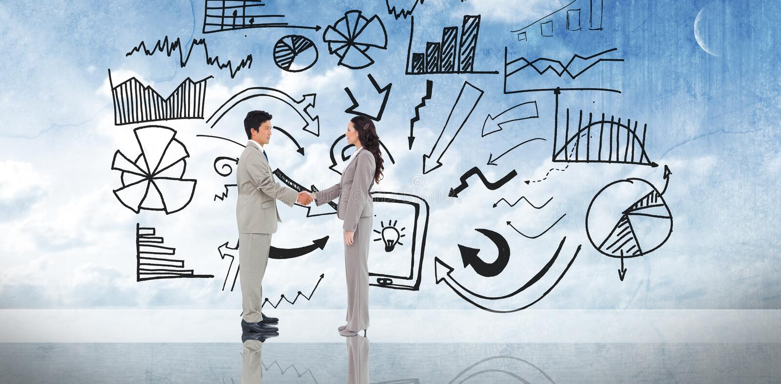Composite image of business people shaking hands. Business people shaking hands against painted blue sky royalty free stock images