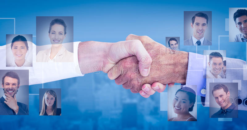 Composite image of business people shaking hands on white background royalty free stock photography