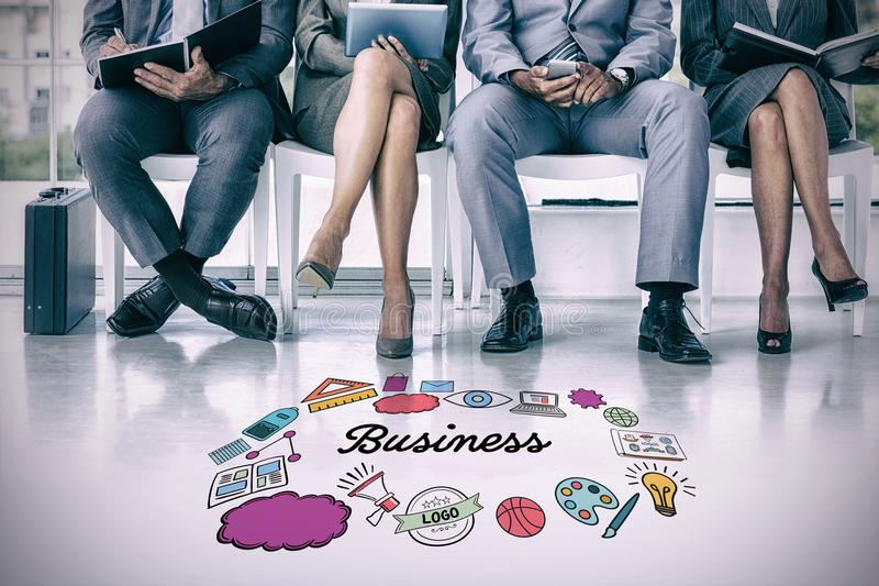 Composite image of business people waiting to be called into interview stock photo