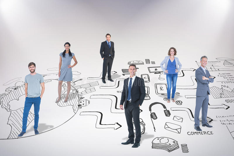 Composite image of business team. Business team against brainstorm graphic royalty free stock image