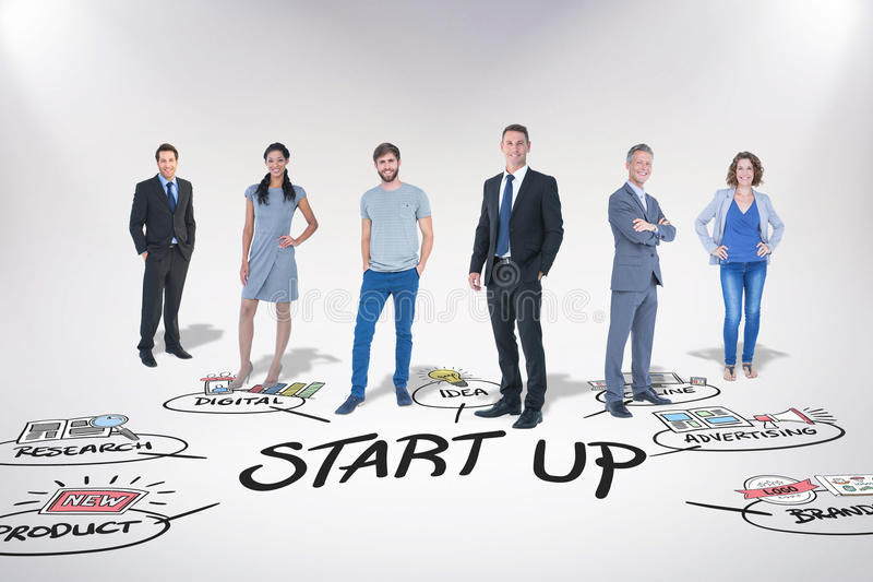 Composite image of business team. Business team against start up doodle royalty free stock image