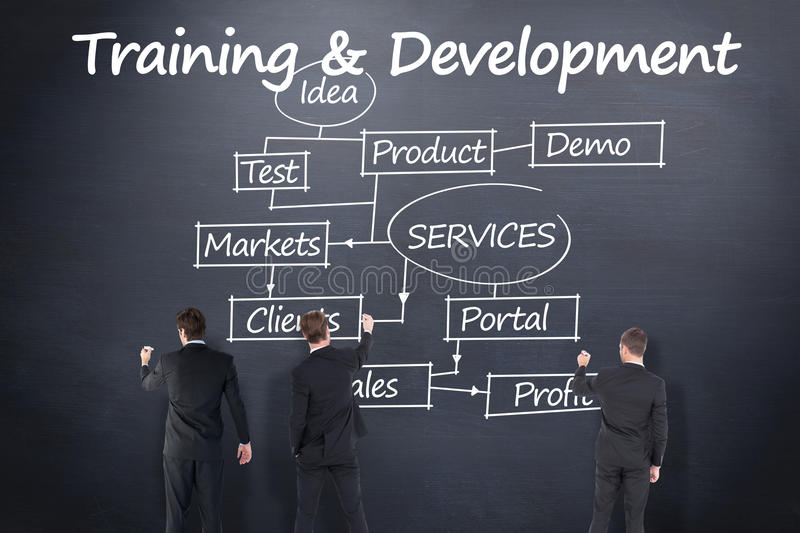 Composite image of business team writing. Business team writing against blackboard stock image