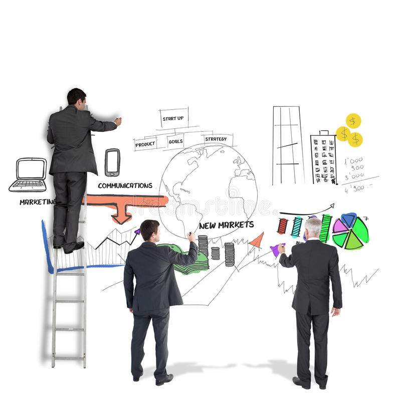 Composite image of business team writing. Business team writing against white background with vignette royalty free stock images