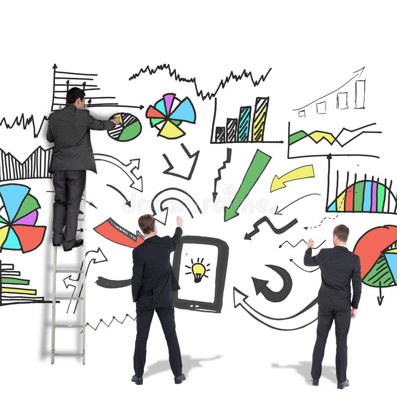 Composite image of business team writing. Business team writing against white background with vignette royalty free stock photography
