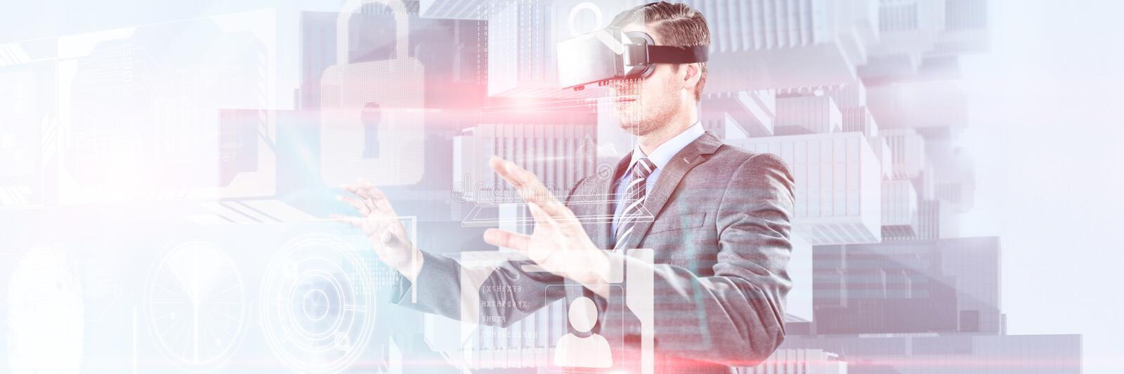 Composite image of businessman gesturing while using virtual reality headset. Businessman gesturing while using virtual reality headset against composite image royalty free stock photos