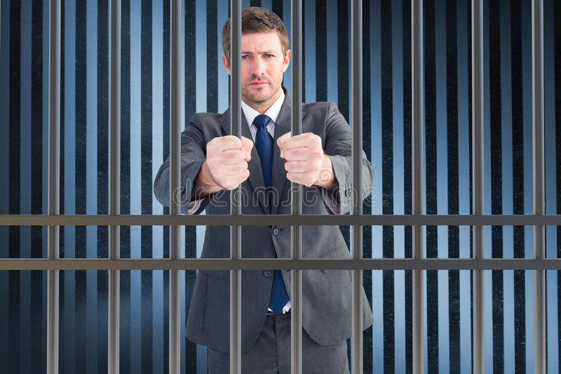 Composite image of businessman holding his hands out royalty free stock photos