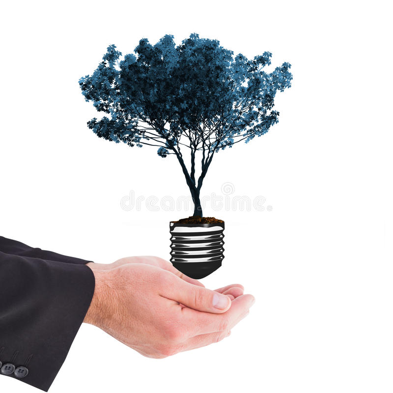 Composite image of businessman holding something with his hands stock illustration