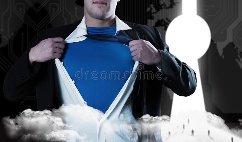Composite image of businessman opening his shirt superhero style stock photos