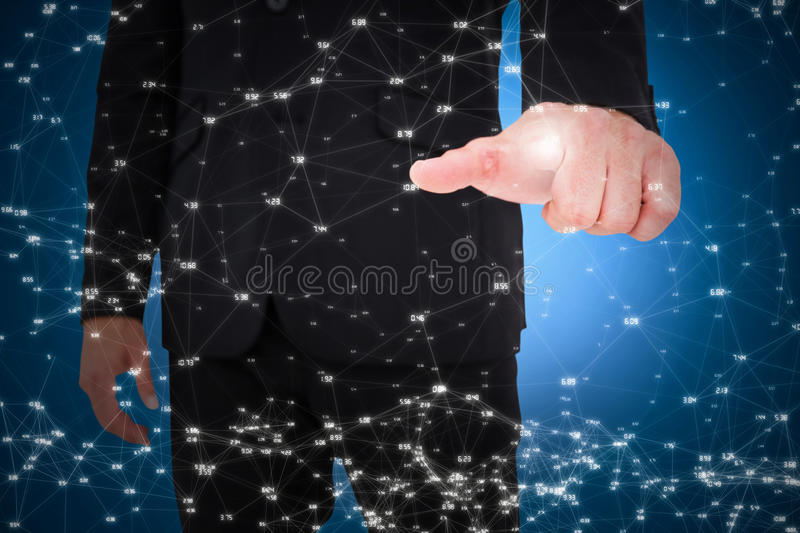 Composite image of businessman pointing with finger. Businessman pointing with finger against blue background stock illustration