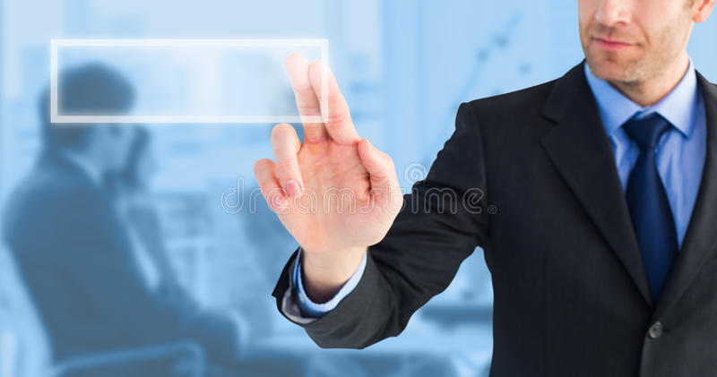 Composite image of businessman pointing these fingers at camera stock images