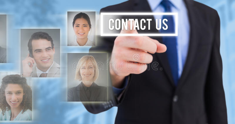 Composite image of businessman pointing his finger at camera royalty free stock images