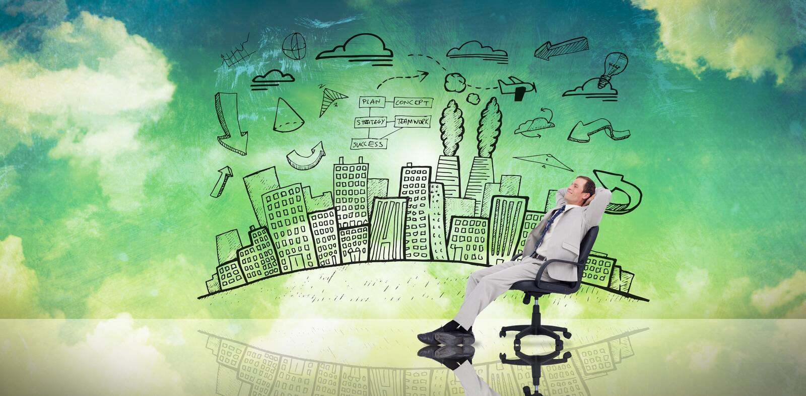 Composite image of businessman relaxing in swivel chair stock illustration