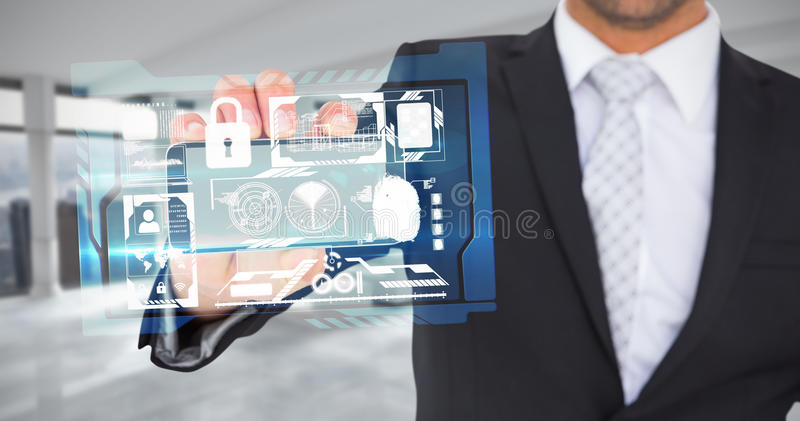 Composite image of businessman showing his smartphone screen royalty free stock photo