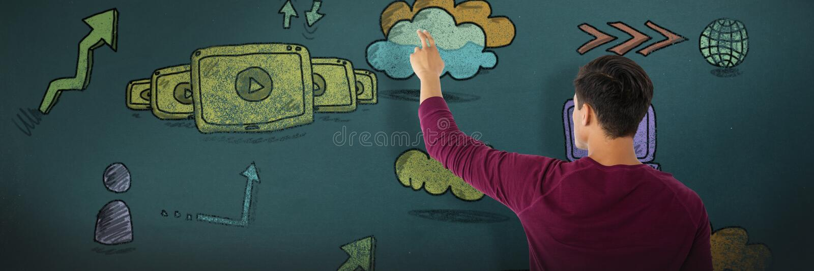 Composite image of businessman touching invisible imaginary screen. Businessman touching invisible imaginary screen against network royalty free stock photography