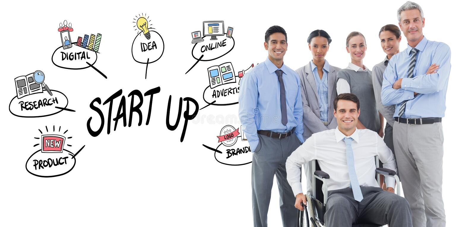 Composite image of businessman in wheelchair with his colleagues looking at camera. Businessman in wheelchair with his colleagues looking at camera against start stock photography