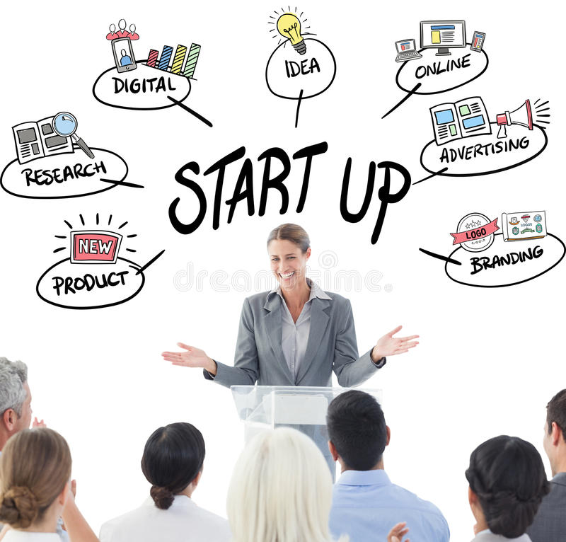 Composite image of businesswoman doing speech during meeting. Businesswoman doing speech during meeting against start up doodle royalty free stock photos