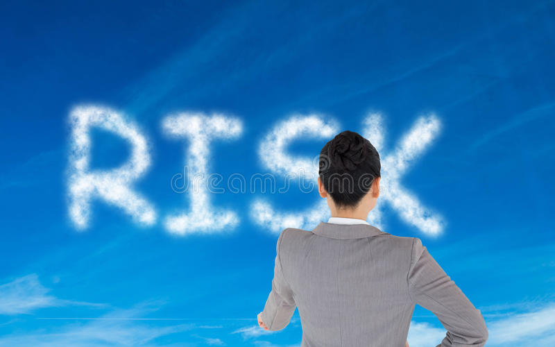 Download Composite Image Of Businesswoman Pointing Stock Image - Image of single, cloudy: 35799269