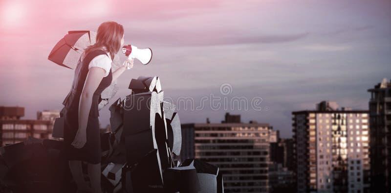 Composite image of businesswoman shouting through megaphone stock illustration