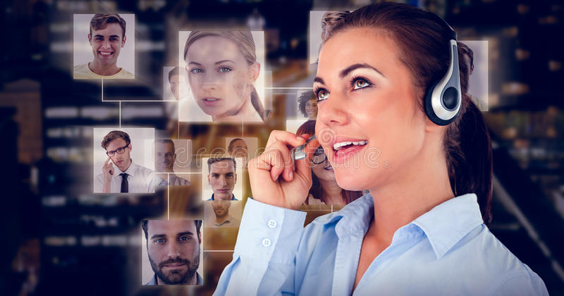Composite image of call center agent looking upwards while talking stock images