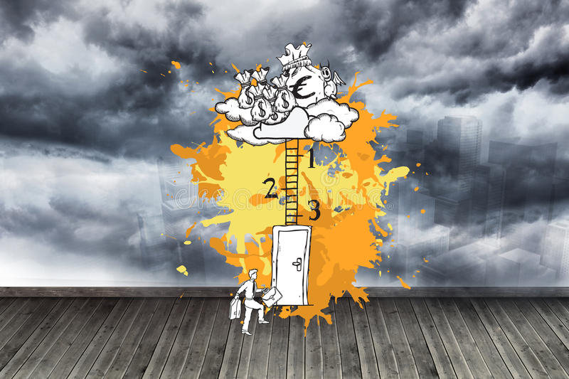 Composite image of career progession concept on paint splashes. Career progession concept on paint splashes against sky painted on wall stock images