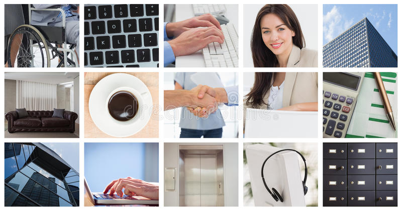 Composite image of casual businessmen shaking hands stock image