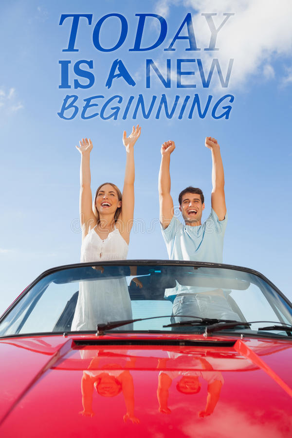 Composite image of cheerful couple standing in red cabriolet. Cheerful couple standing in red cabriolet against today is a new beginning stock illustration