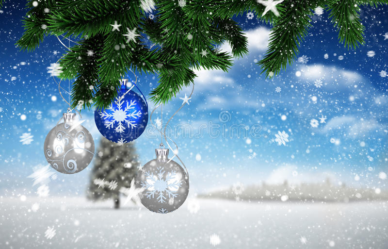 Composite image of christmas decorations stock illustration