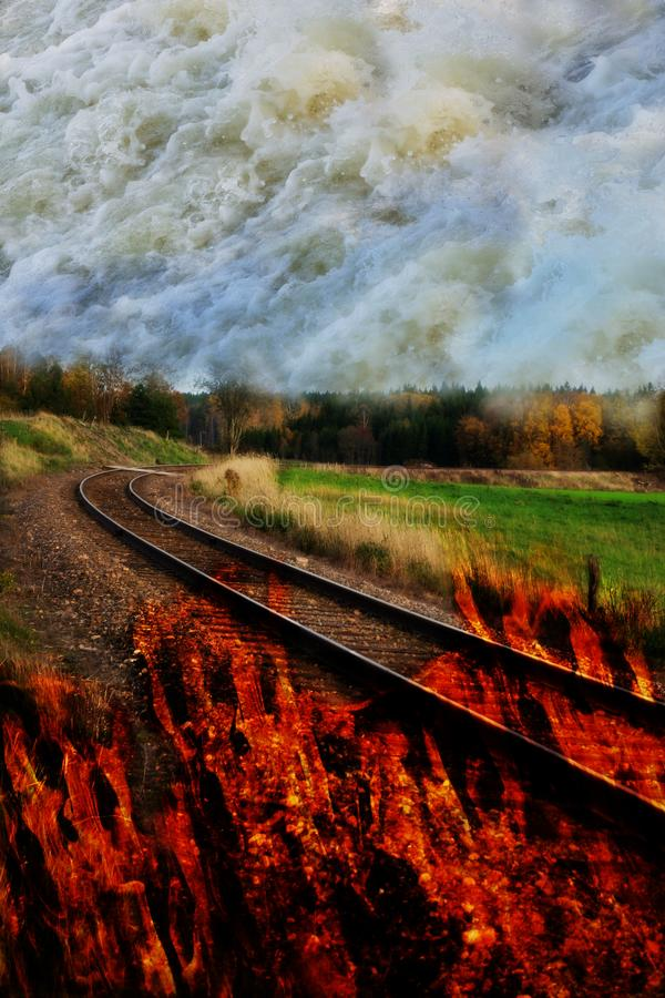 Composite image, climate change concept, fire and flooding. stock image