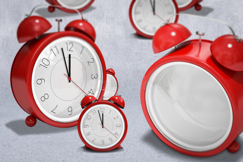 A composite image of clocks. A clocks against grey wall vector illustration