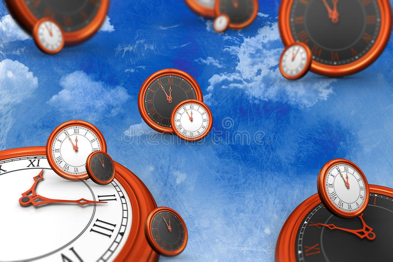 A composite image of clocks. A clocks against painted sky stock illustration