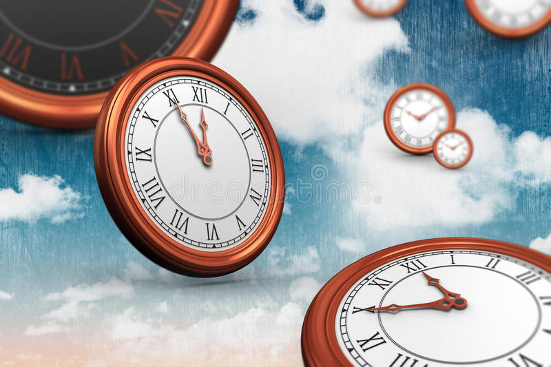 A composite image of clocks. A clocks against painted sky royalty free illustration
