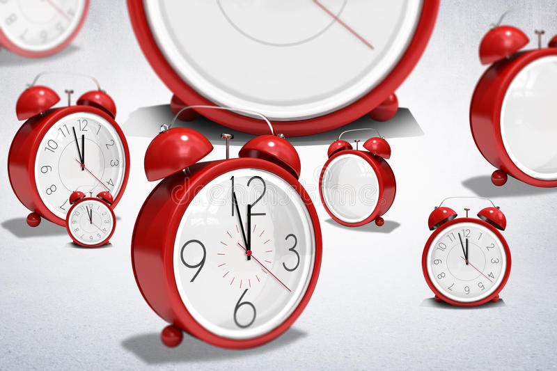 A composite image of clocks. A clocks against white wall vector illustration