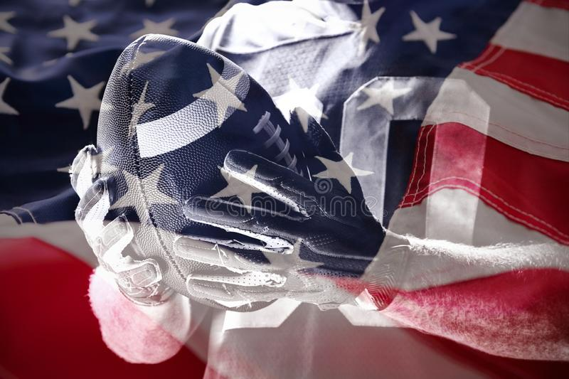 Composite image of close-up of american flag stock photo