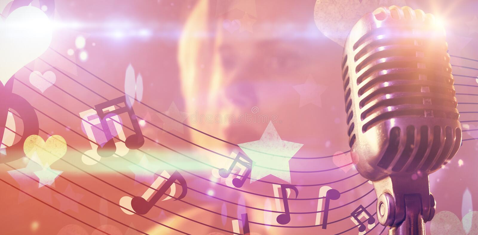 Composite image of close-up of microphone stock illustration
